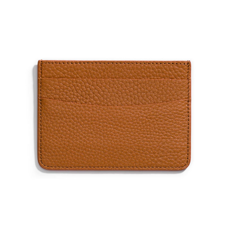 caramel brown leather slim wallet to hold cards and can be personalized