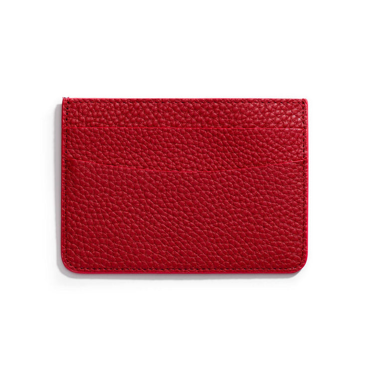 cherry red leather slim wallet to hold cards and can be personalized