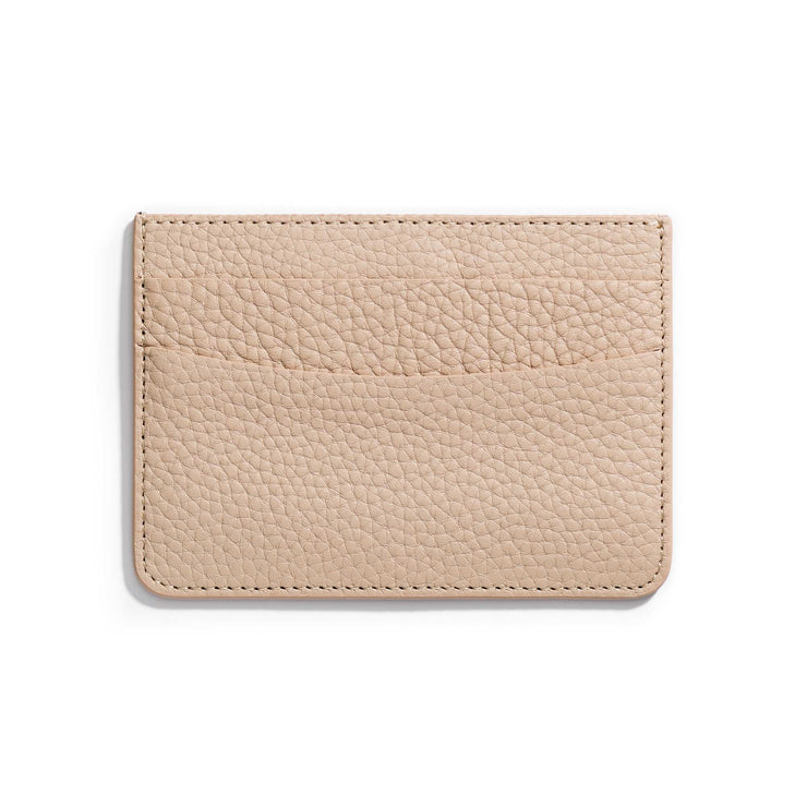 oat tan leather slim wallet to hold cards and can be personalized