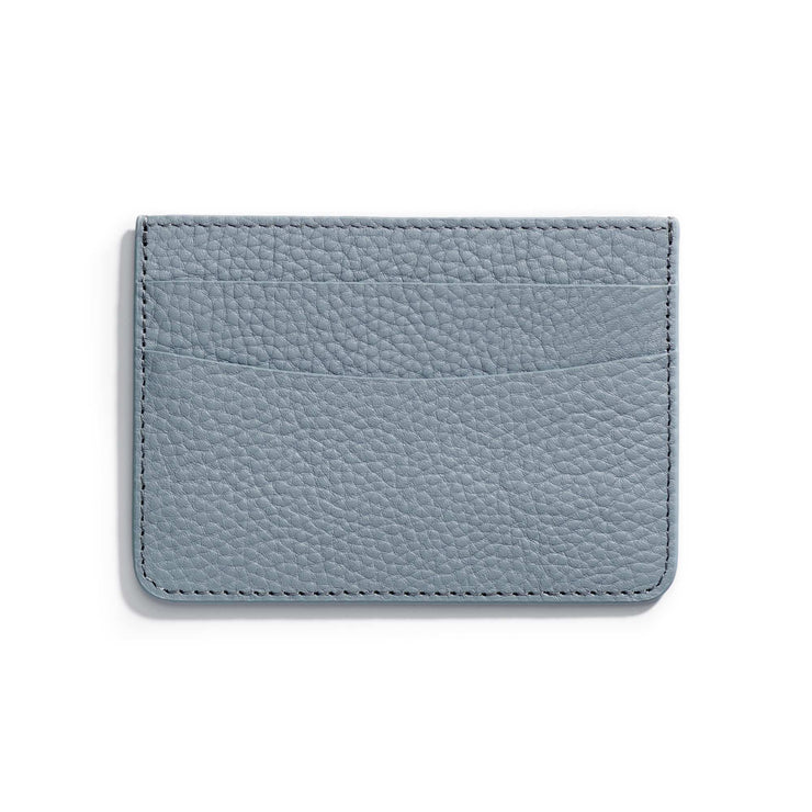 oyster blue leather slim wallet to hold cards and can be personalized