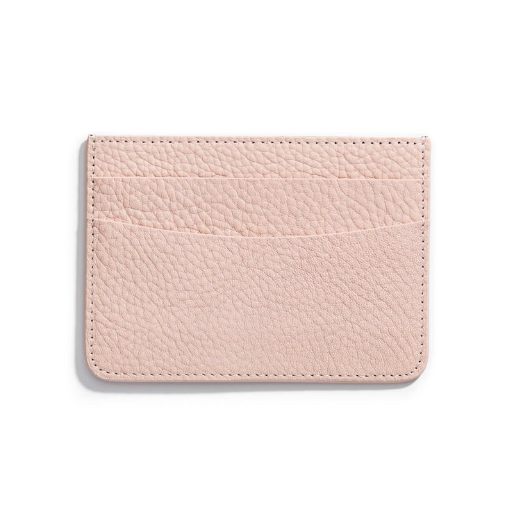 rosewater light pink leather slim wallet to hold cards and can be personalized
