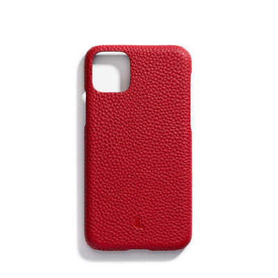 cherry-main-red colored personalized premium leather iPhone 11 phone case