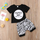 Letter Print T-Shirt Striped Pants Clothing Set-Clothing Sets-AULEY