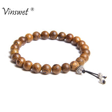 Load image into Gallery viewer, Bracelet Men Jewelry Pulseira Healing Balance Buddha Beads Reiki Prayer Yoga Wood Black Onyx Bracelets Gift Pulseras Mujer Femme