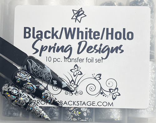 10pc Black & White Holo Spring Foils