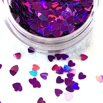 Holographic Fuchsia Hearts Glitter Mix