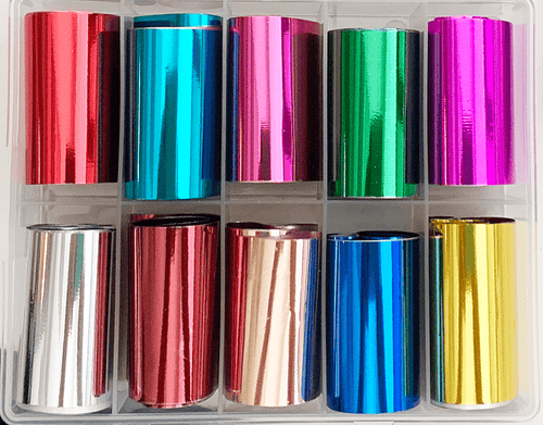 10pc Bright Metallics Transfer Foil Set
