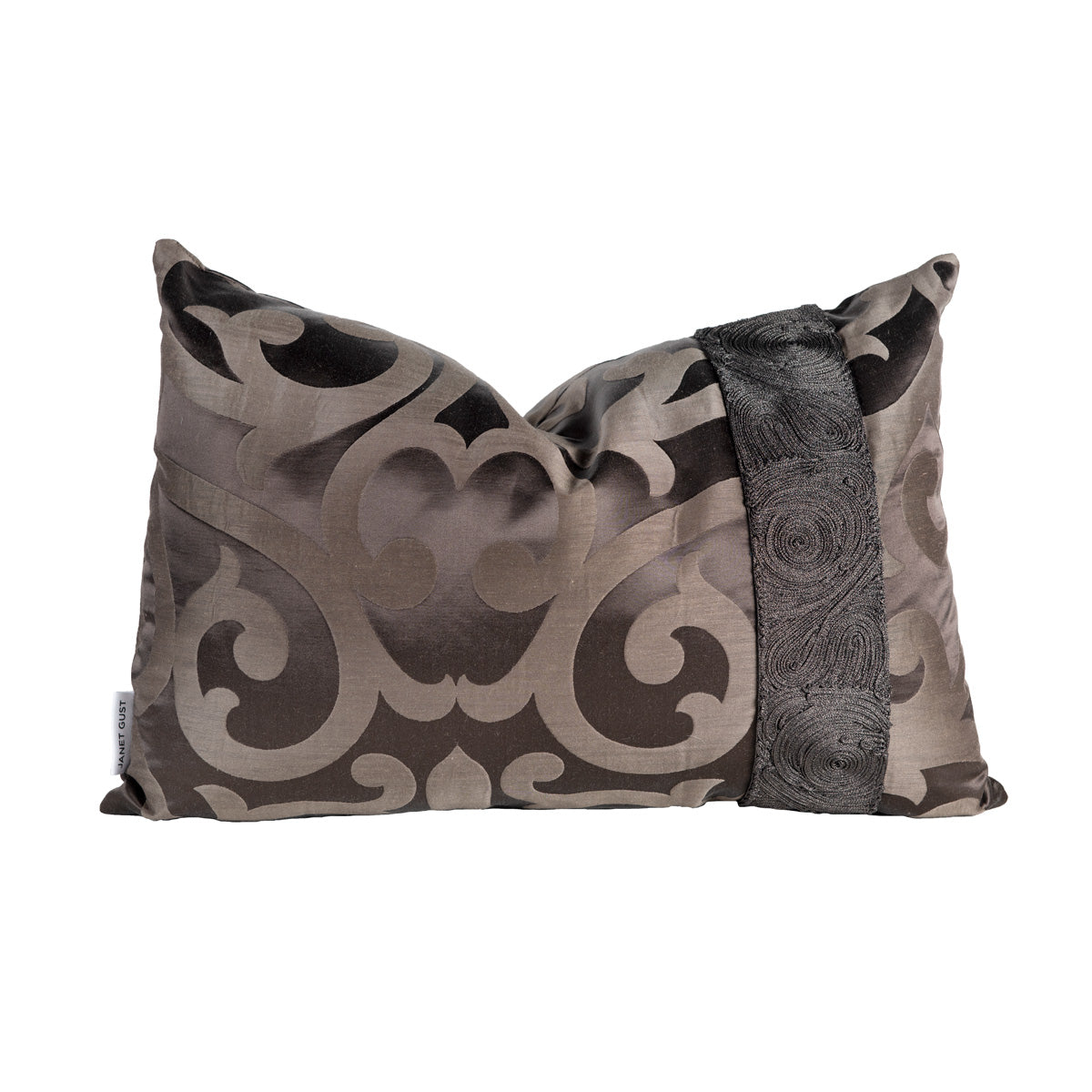 Chocolate Brown Geometric Satin Pillow With Beaded Trim