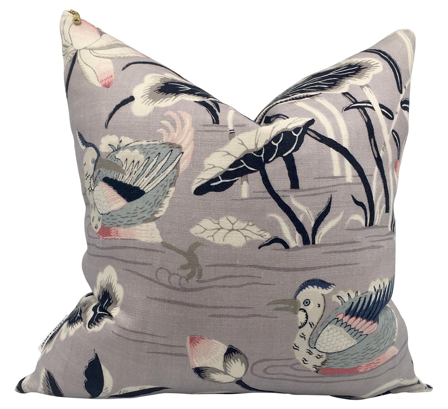 Lavender & Navy Storks Pillow