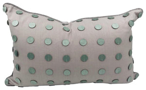 Blush Pink  Silver Leather Circles Pillow