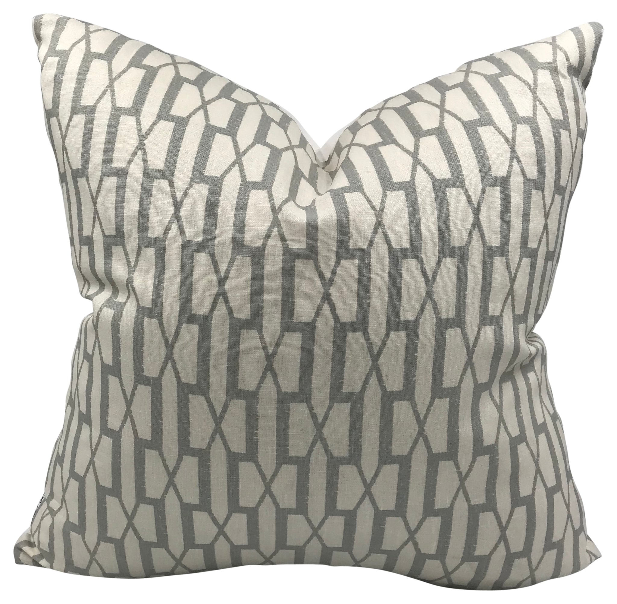 Gray & Ivory Mixed Geometric Pillow