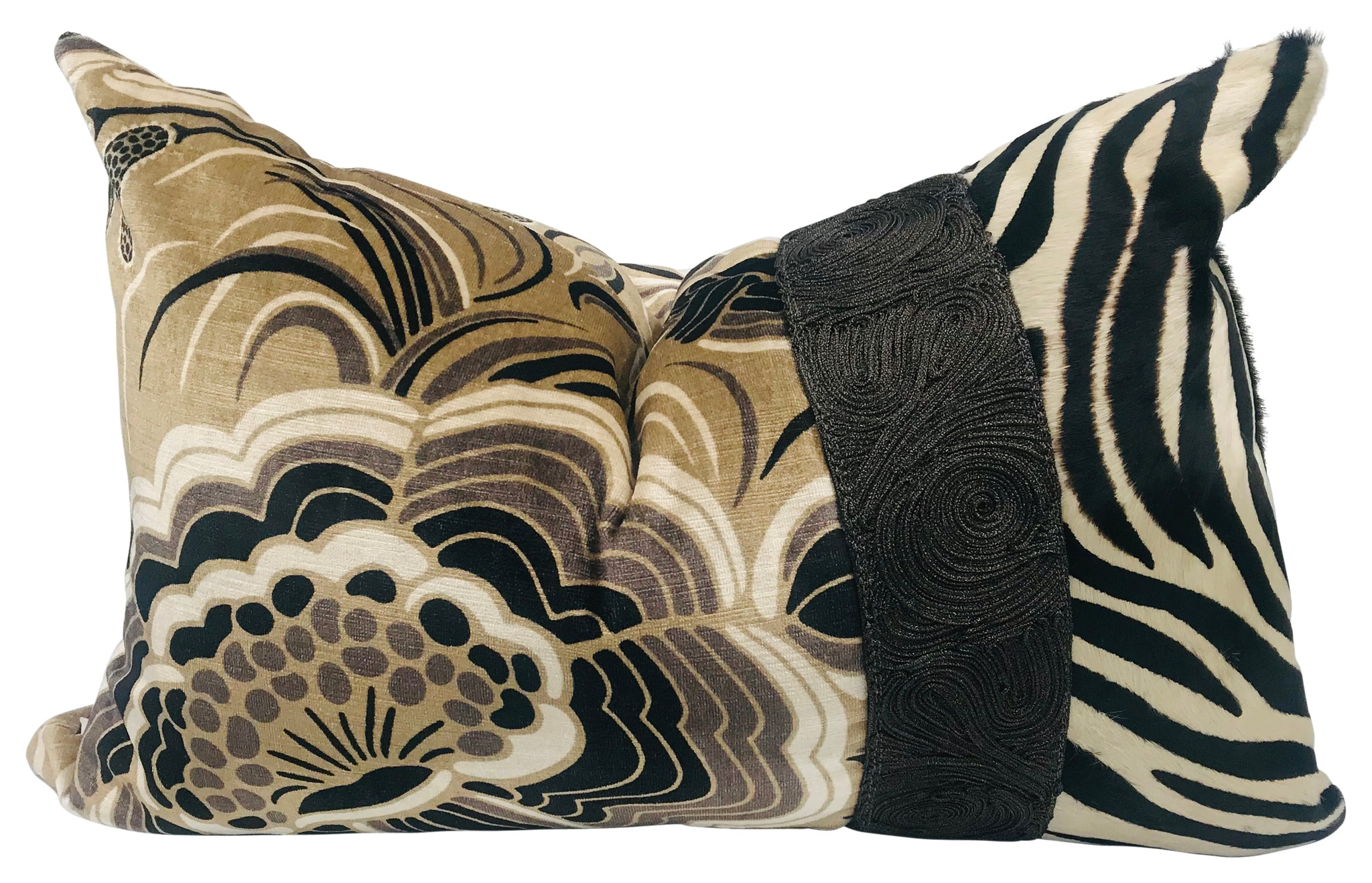 Stone & Black Sprig Floral Zebra Hair Pillow