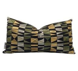 Hunter Green and Ochre Geometric Pillow