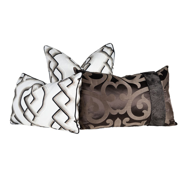 Black, Creme & Bronze  Interlocking Pillow
