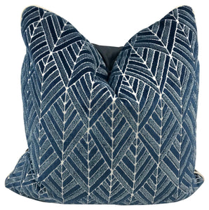 Navy Velvet Diamond Print Pillow