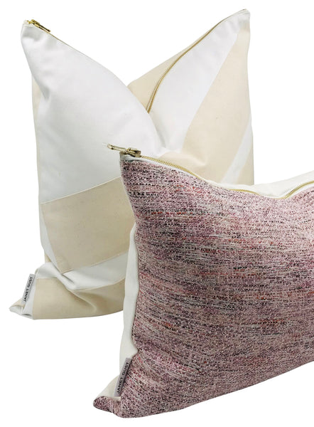 Pink Pommes & White Linen Pillow