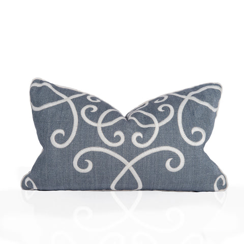 12x22 Titanium Crown Scroll Pillow with welting