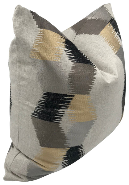 Gray, Gold & Black Everescent Pillow