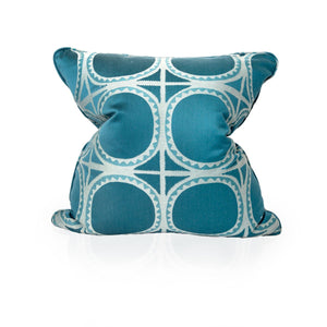 Teal Green Square Circle Pillow