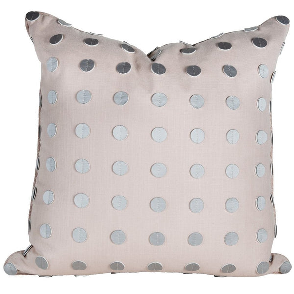 Lavender Linen Pillow with Leather Trim