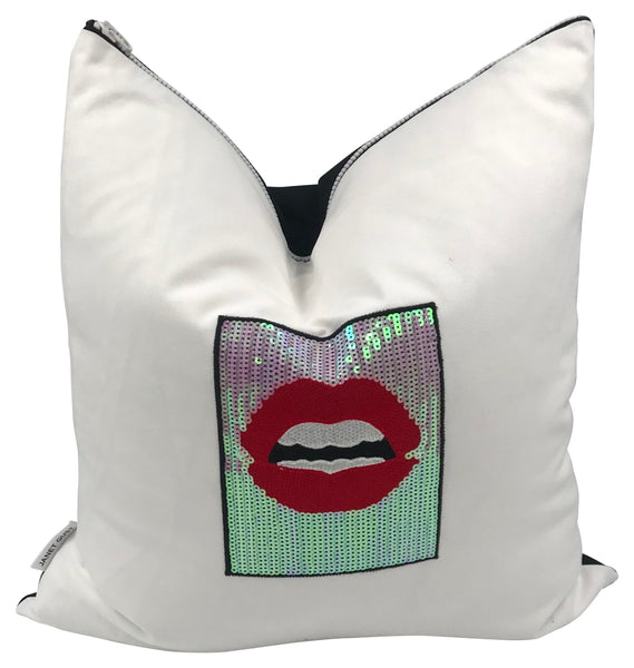 Luscious Lips Black  Canvas Pillow