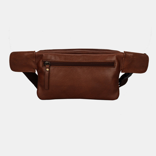 Finelaer Dark Brown Leather Fanny Waist Travel