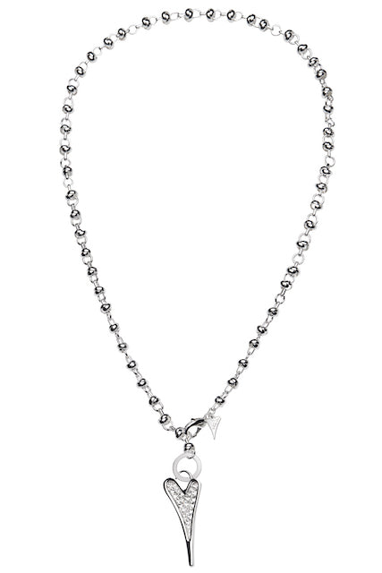 Miss Dee Silver Heart Long Knot Chain Necklace