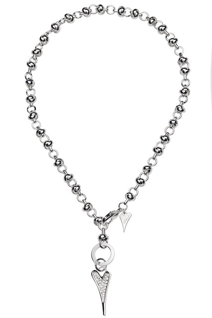 Miss Dee Silver Crystal Heart Knot Chain Necklace