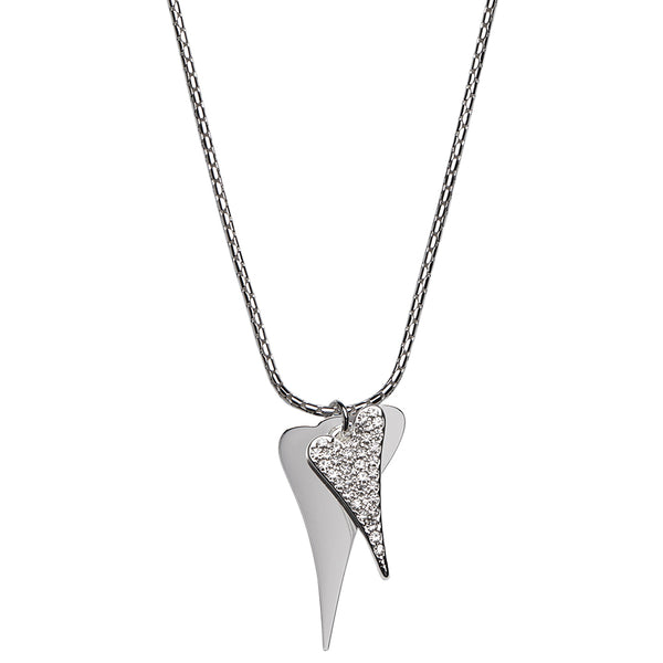 Miss Dee Silver plated long  necklace - 70cm with 2 heart pendants