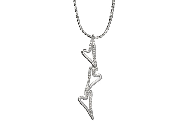 Miss Dee silver plated necklace with 3 heart drop pendant