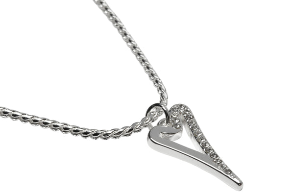 Miss Dee silver plated bracelet with plain and diamante face pendant