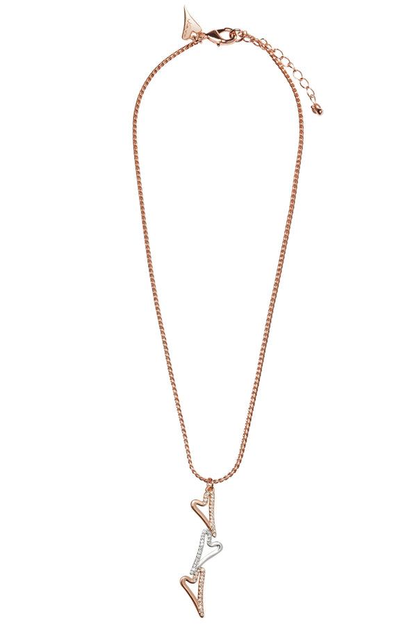 Miss Dee rose gold plated necklace with 3 heart drop pendant and diamante edging