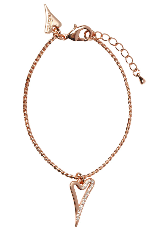 Miss Dee 14 crt rose gold plated bracet with plain and diamante face pendant