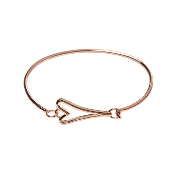Miss Dee 14 ct rose gold plated solid bangle with a hollow heart shaped pendant fastening