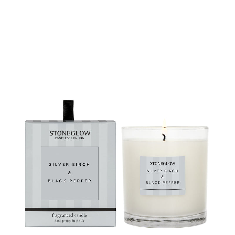 Stoneglow modern classics - silver birch & black pepper candle