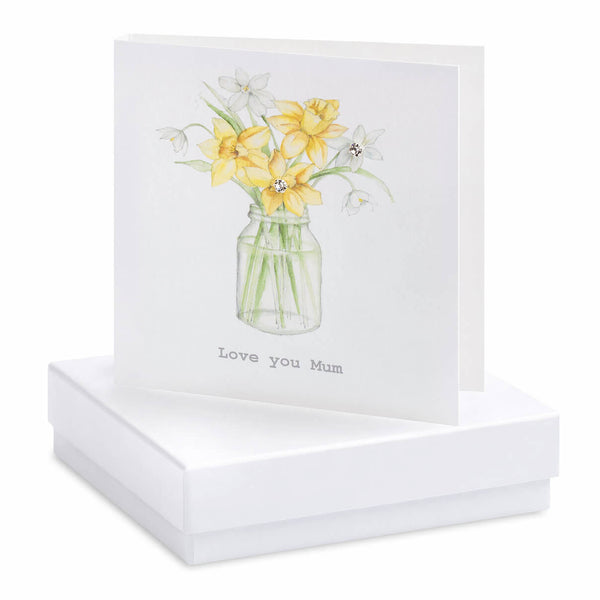 Crumble and Core - 'Love You Mum' - Daffodil - Boxed Earring Card