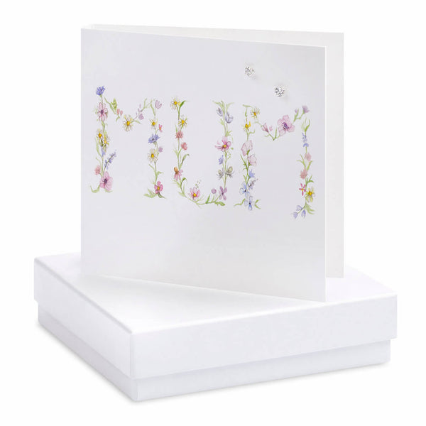Crumble and Core - 'Mum' - Floral - Boxed Earring Card