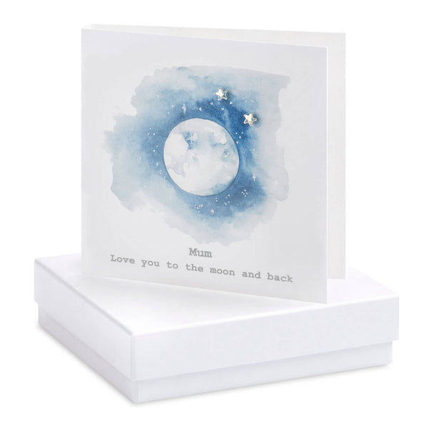 Crumble and Core - Mum, Love You to the Moon and Back - Boxed Earring Card