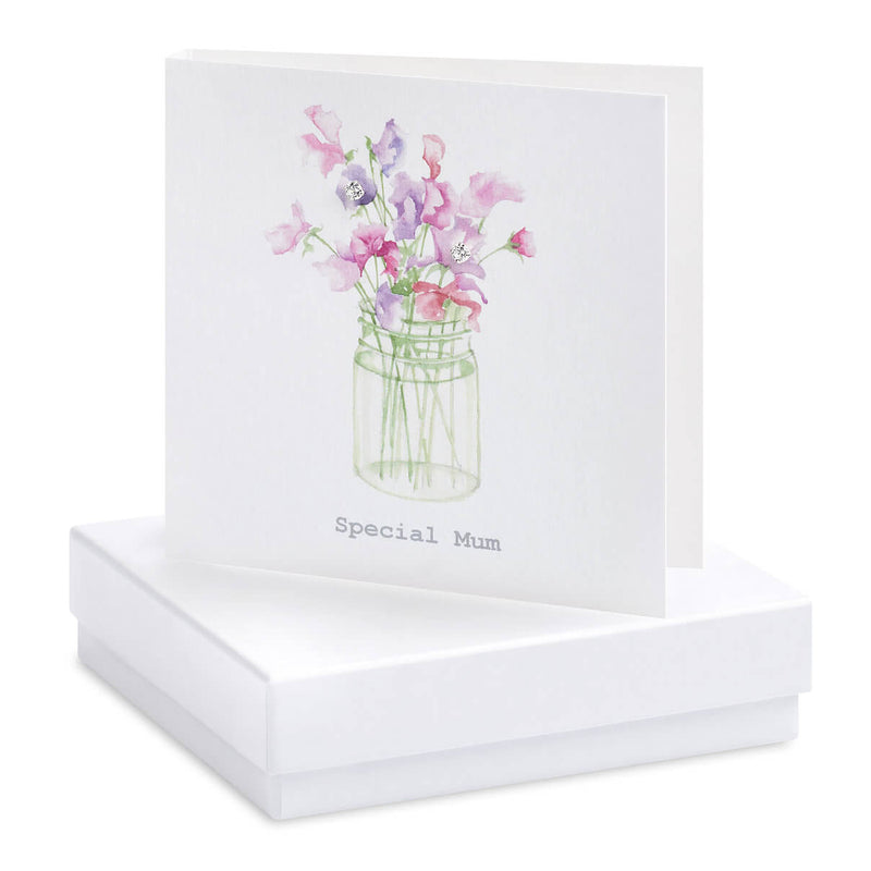 Crumble and Core - 'Special Mum' - Sweet Pea - Boxed Earring Card