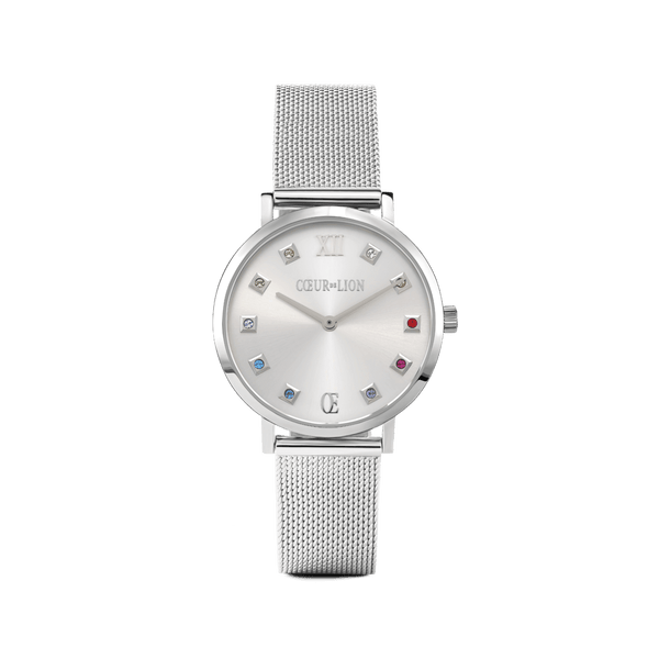 COEUR DE LION: Silver Sunday Milanese Watch