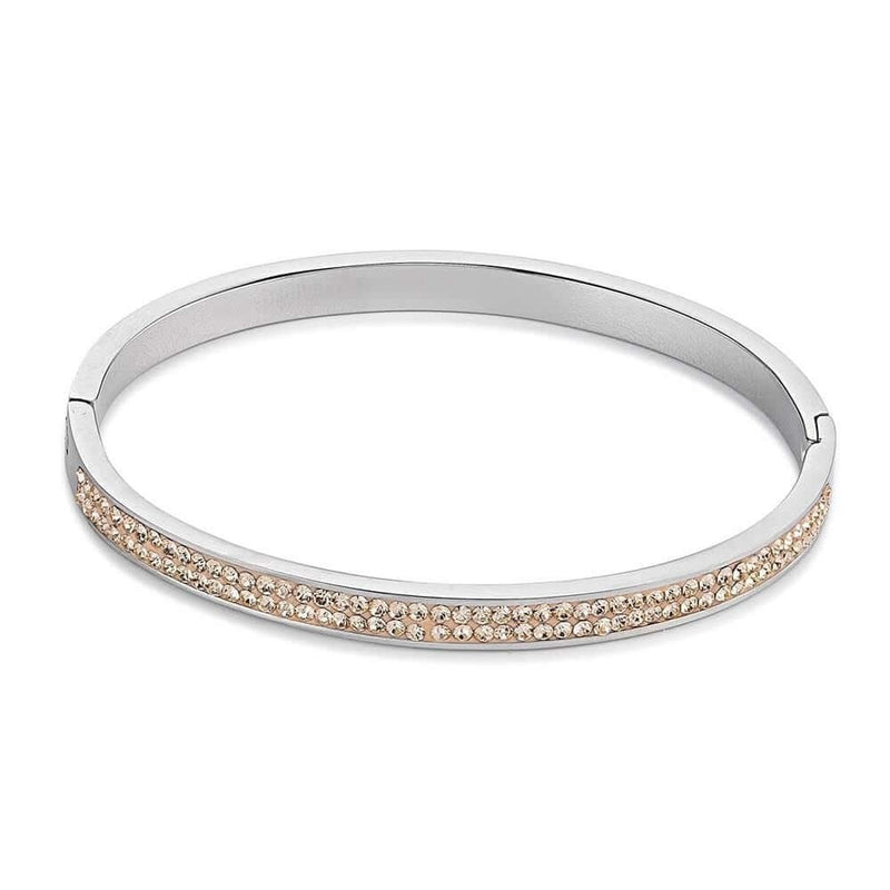 Coeur De Lion Stainless Steel & Crystal Pavé Peach Bangle