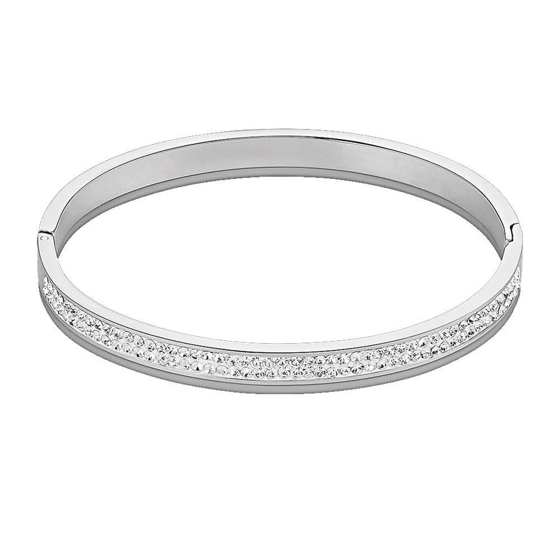 Coeur De Lion Stainless Steel & Clear Pave Crystal Bangle
