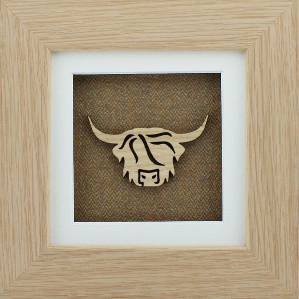 The Damside - Scottish Life Framed Picture - Moss Highland Cow