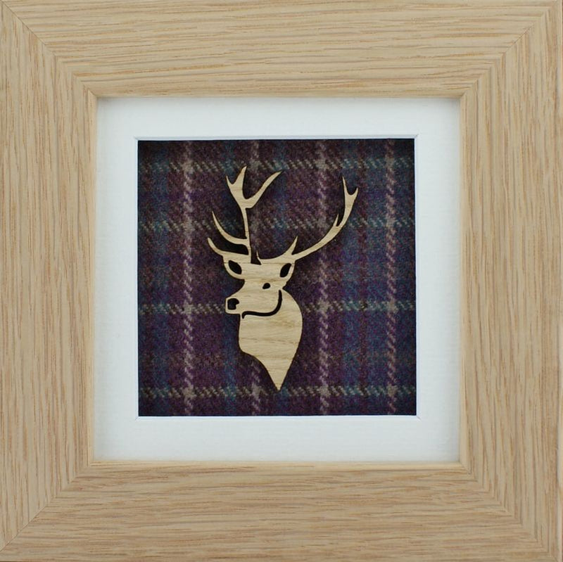 The Damside - Scottish Life Framed Picture - Heather Plaid  Stag