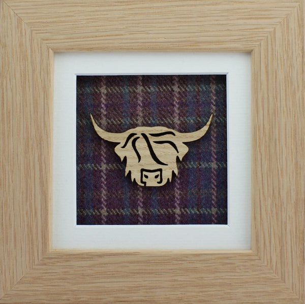 The Damside - Scottish Life framed picture - Heather Plaid  Highland Cow