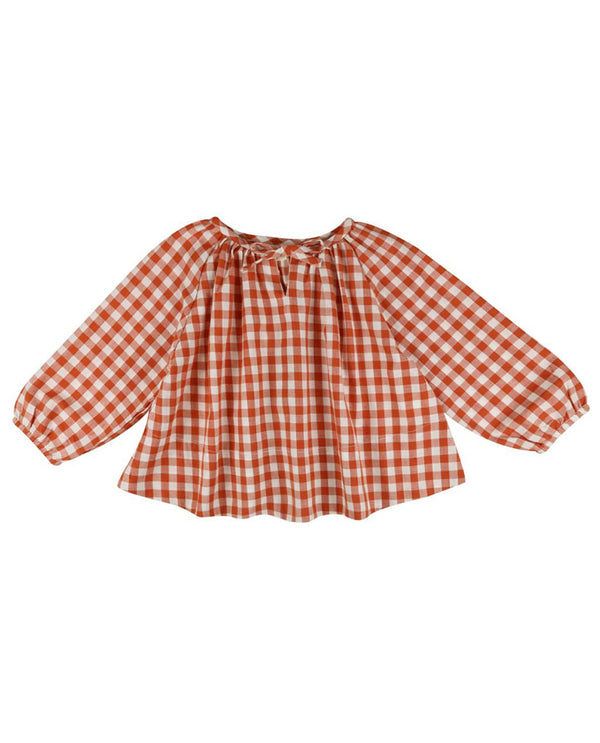 Olive Smock Blouse - rust gingham