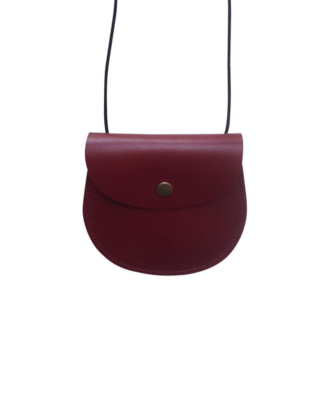 Leather saddle purse - burgundy