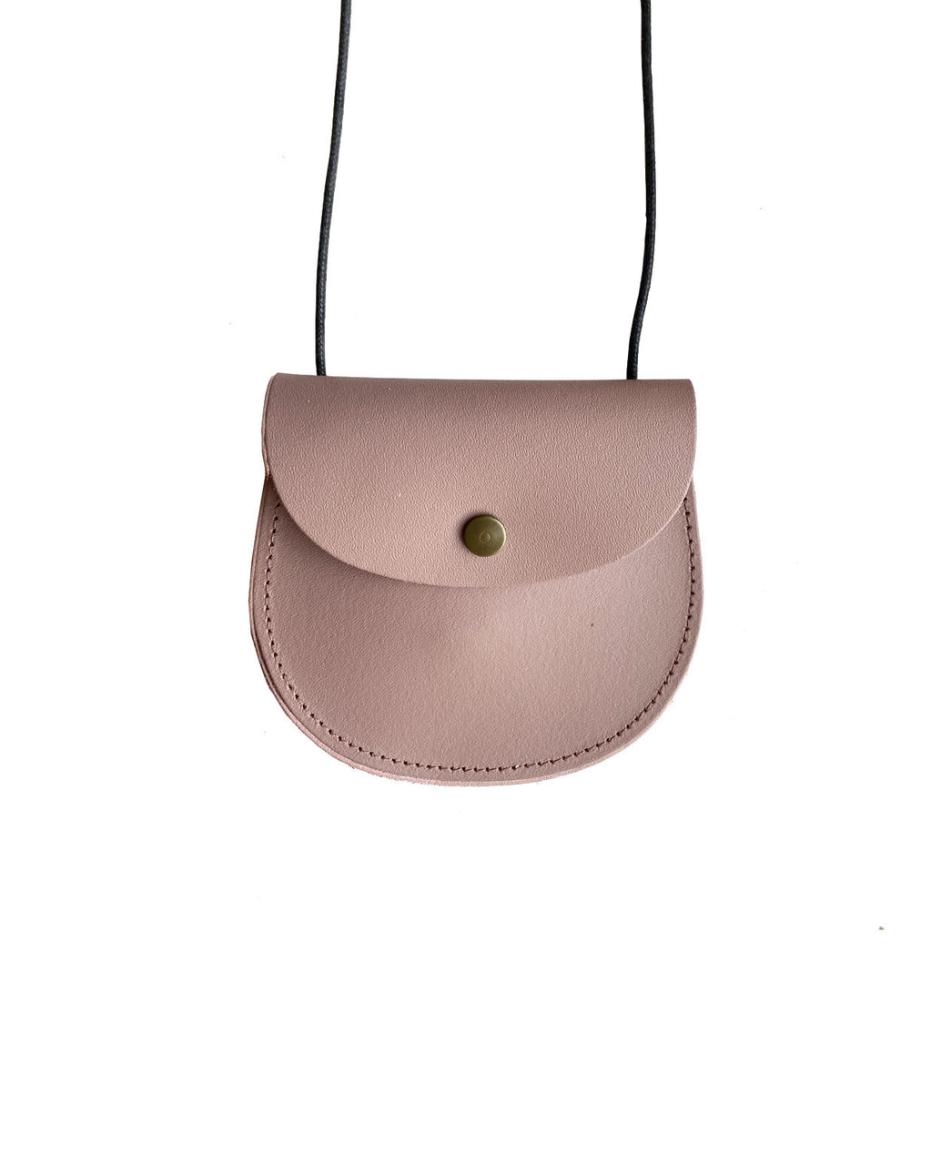 Leather saddle purse - dusty pink