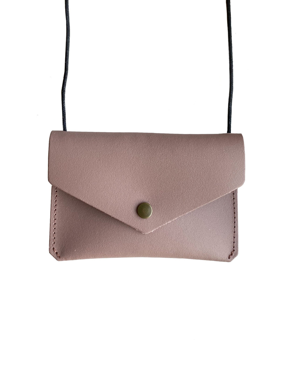 Leather envelope purse - dusty pink
