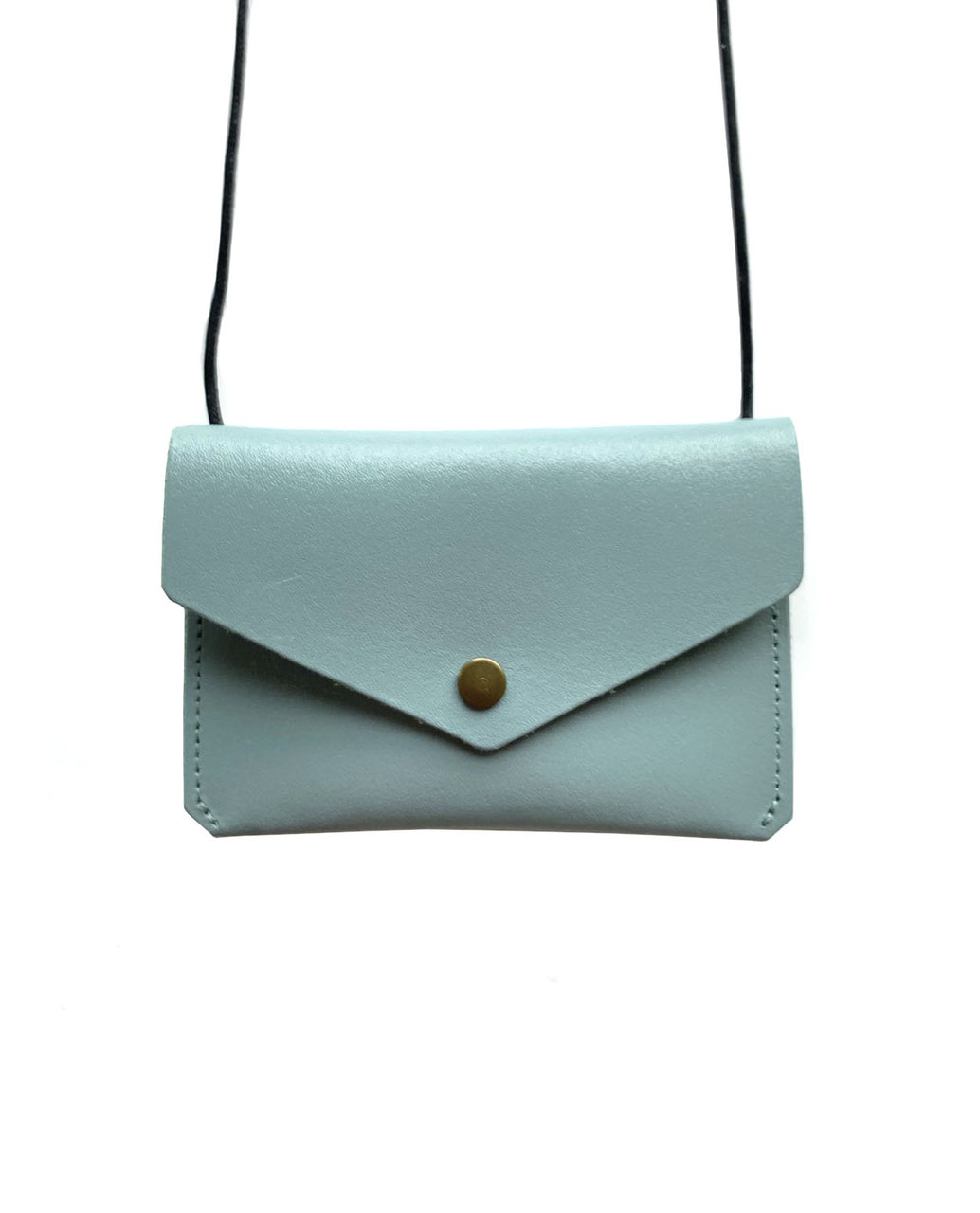 Leather envelope purse - duck egg blue